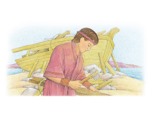 A watercolor illustration of Nephi in a red robe, holding a hammer as he works to build the ship, which is taking shape in the background.