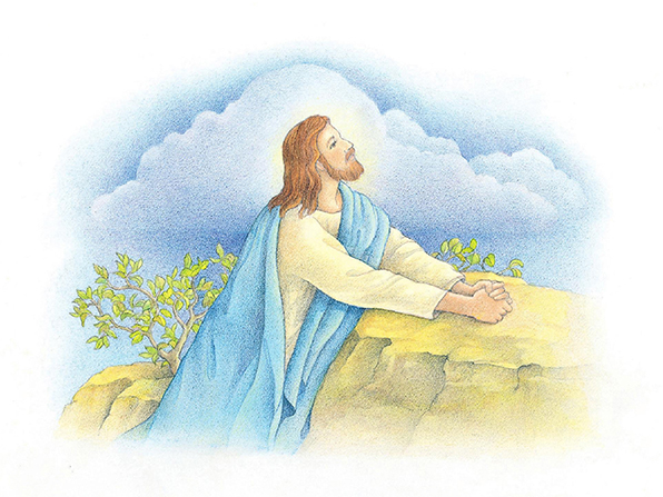 A watercolor illustration of the Savior in the Garden of Gethsemane, kneeling to pray with His hands folded on top of a large stone.