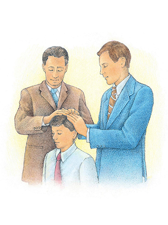 A watercolor illustration of two men in suits laying their hands on a young boy's head to confer the priesthood on him.