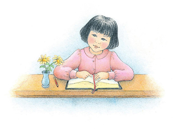 A watercolor illustration of a girl with black hair sitting at a desk, reading from the scriptures.