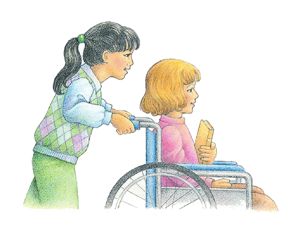 A watercolor illustration of a girl with black hair pushing the wheelchair of another young girl, who is smiling.
