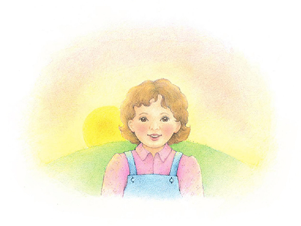 A watercolor illustration of a girl in overalls standing in front of a hill, with the sun rising in the background.