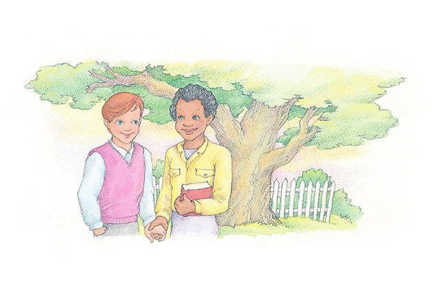 A watercolor illustration of two friends holding hands and smiling at one another in front of a large tree.