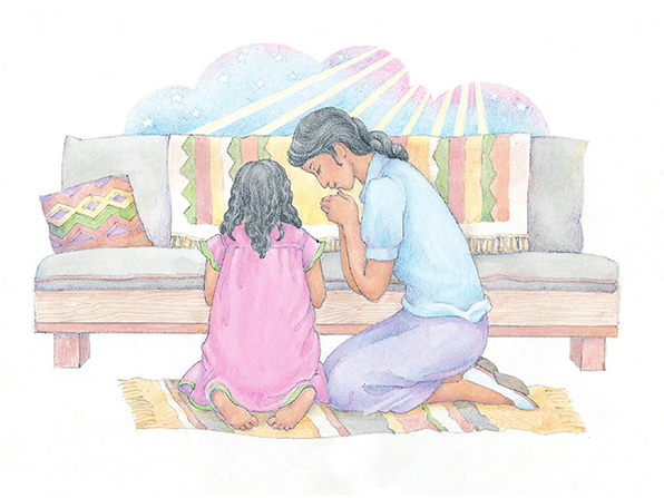 A watercolor illustration of a mother and daughter kneeling to pray on a woven rug next to a couch.