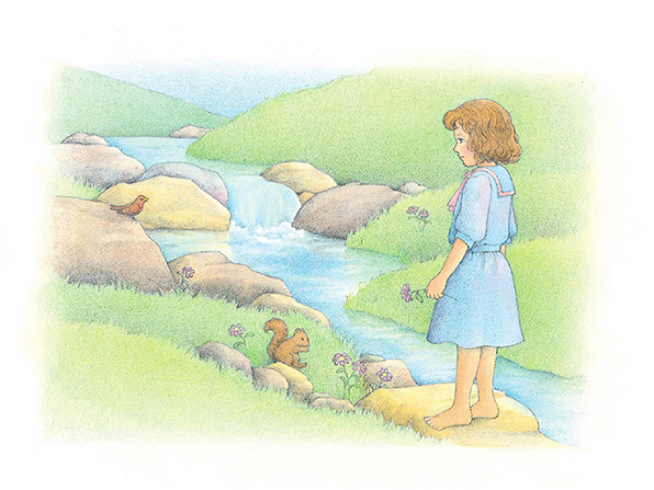 A watercolor illustration of a girl in a blue dress standing on a rock to the side of a stream, surrounded by flowers, grass, and wildlife.