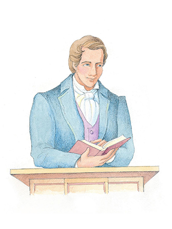 A watercolor illustration of Joseph Smith in a blue overcoat, standing at a podium, holding a book in his hand, and pointing to a page.