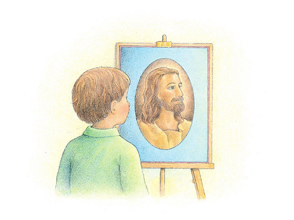 A watercolor illustration of a young boy standing and looking at a framed picture of Jesus Christ on an easel.