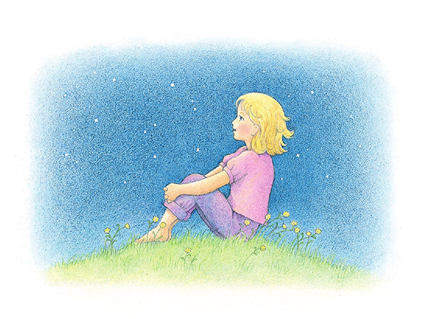 A watercolor illustration of a girl with blond hair sitting barefoot on a grassy hill, looking up at the stars in the night sky.