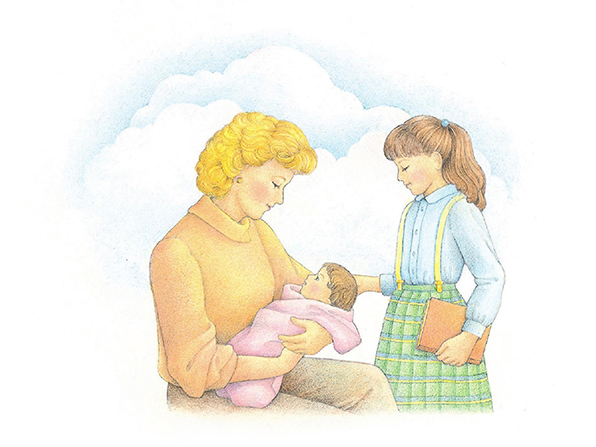 A watercolor illustration of a woman sitting and holding an infant while a young girl in a plaid skirt stands nearby.