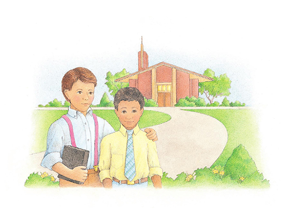 A watercolor illustration of two boys standing together in front of a red brick Church house.
