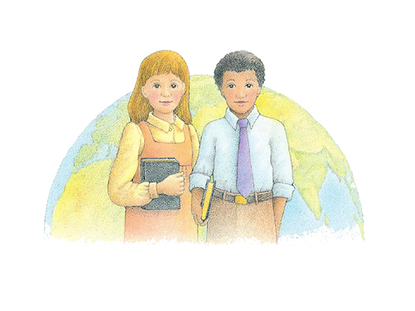 A watercolor illustration of a young boy and a young girl, both holding scriptures, standing in front of an image of planet earth.