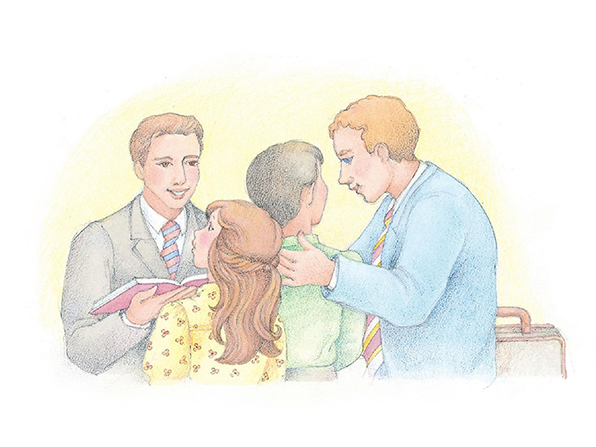 A watercolor illustration of two elder missionaries in suits talking to a young girl and a young boy.