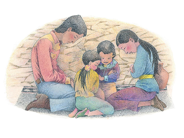 A watercolor illustration of a family of four kneeling together on a rug and bowing their heads in prayer.