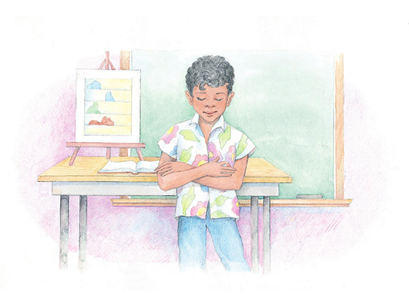 A watercolor illustration of a boy with black hair standing at the front of a classroom and saying a prayer.