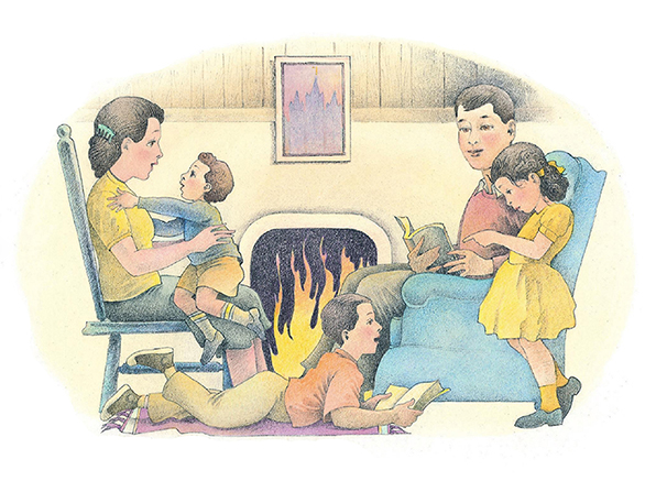 A watercolor illustration of a family of five sitting around a roaring fire, reading books and talking with one another.