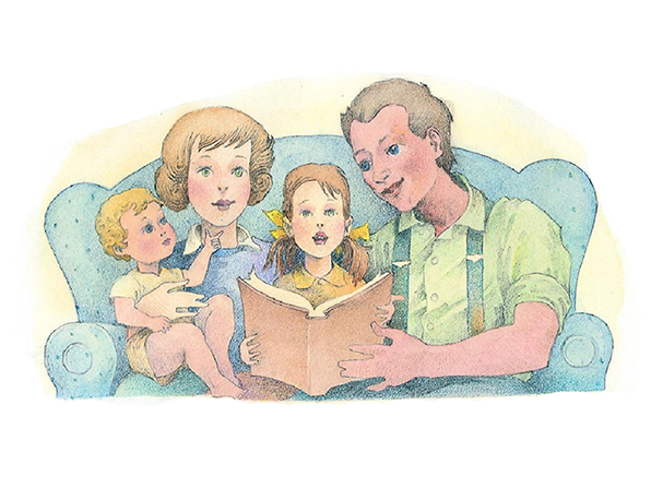 A watercolor illustration of a couple with two children holding a brown book and singing songs together.