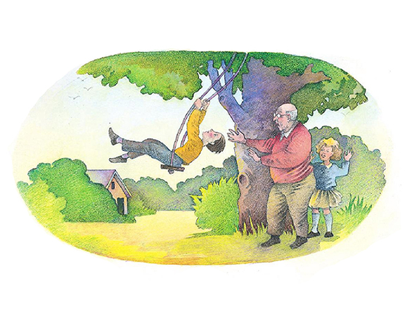 A watercolor illustration of an elderly man pushing a young boy on a swing hung from a tree, with a young girl standing nearby.