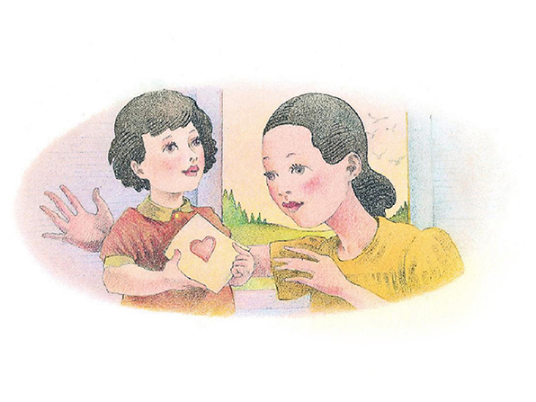 A watercolor illustration of a small girl with black hair holding out a card with a heart on the front to give to her mother.