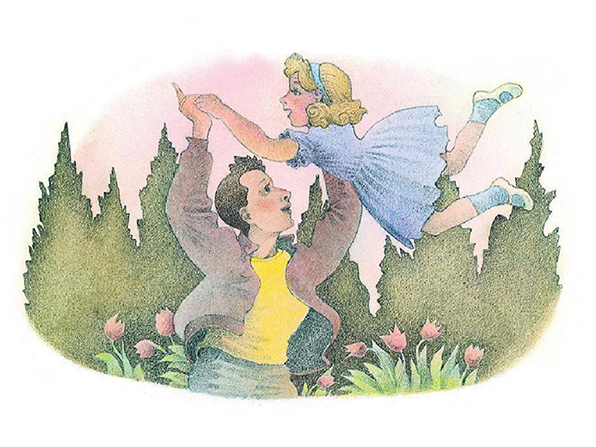 A watercolor illustration of a man wearing a jacket, tossing his daughter into the air in a playful gesture.