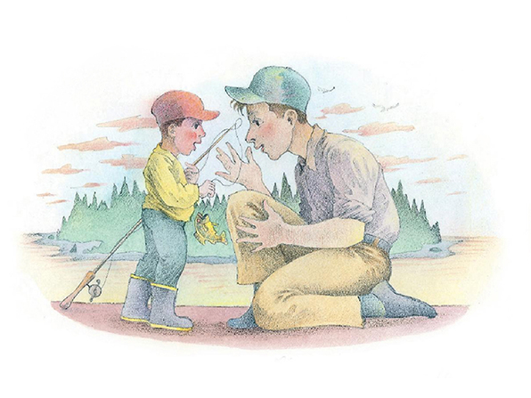 A watercolor illustration of a boy holding a fishing rod and a fish while talking to his father, who is kneeling in front of him.