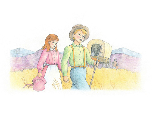 A watercolor illustration of a young boy and girl in pioneer clothing, walking and singing across a golden field with a covered wagon in the background.