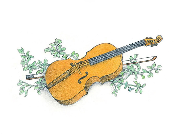 A watercolor illustration of a violin and its bow lying on top of a green, leafy branch.