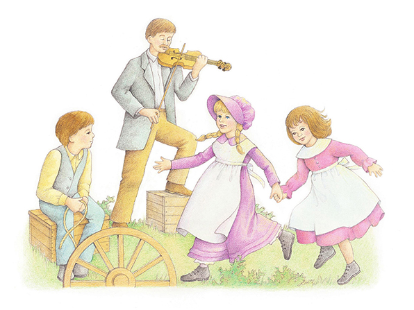 A watercolor illustration of two pioneer girls holding hands and dancing while a man plays the fiddle in the background and a young boy looks on.
