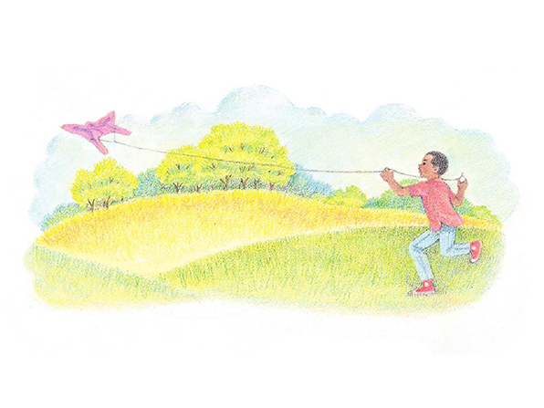 A watercolor illustration of a boy in a red shirt and sneakers running across a field while flying a butterfly kite.