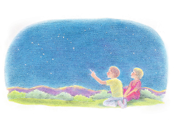 A watercolor illustration of a boy and girl kneeling on the grass, pointing at the stars in a deep blue sky overhead.