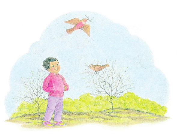 A watercolor illustration of a boy in a red windbreaker standing among trees that have lost their leaves and looking up at a bird with a branch in its beak.