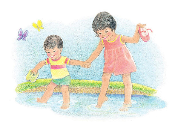 A watercolor illustration of a small boy and girl holding hands and wading into some shallow water while holding their shoes in their free hands.