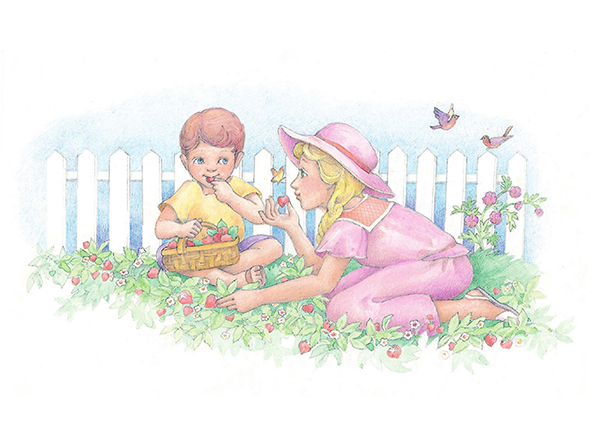 A watercolor illustration of two children picking strawberries in a garden and eating them from a basket.