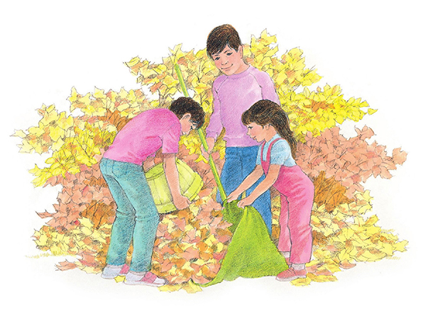 A watercolor illustration of a mother and her two children working together to rake red, yellow, and orange fall leaves into a green sack.