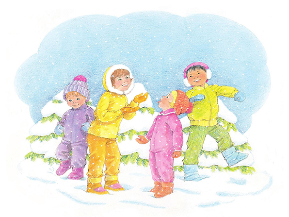 A watercolor illustration of four children dressed for cold weather, walking around in a snowy landscape, sticking out their tongues to taste the falling snowflakes.