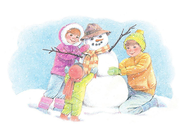 A watercolor illustration of three children in winter gear working together to build a snowman that has branches for arms, a striped scarf, an old hat, and a carrot nose.