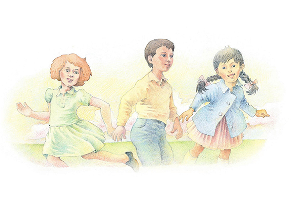 A watercolor illustration of three children running in opposite directions from one another and smiling.