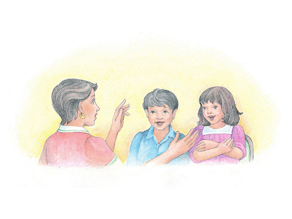 A watercolor illustration of a woman conducting two singing children.