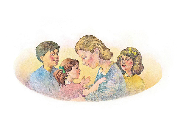 A watercolor illustration of a mother talking to her daughter while another young girl and a young boy stand on either side of them.