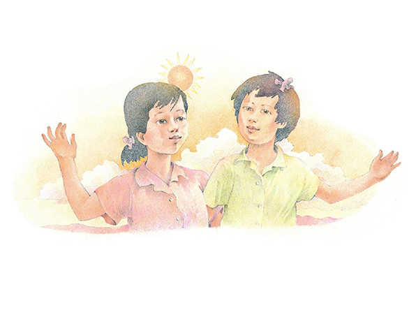 A watercolor illustration of two girls standing arm in arm, with an orange sunrise or sunset in the background.