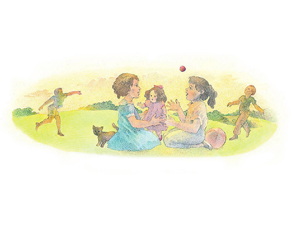A watercolor illustration of two girls sharing a doll in a purple dress. In the background, two boys are throwing a red ball.