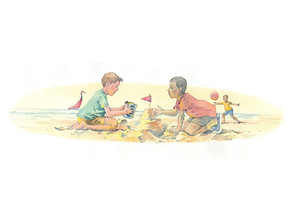 A watercolor illustration of two young boys working together to build a sand castle on the beach while another boy throws a red ball in the background.