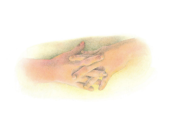 A watercolor illustration of two children's hands folded together in a reverent way.