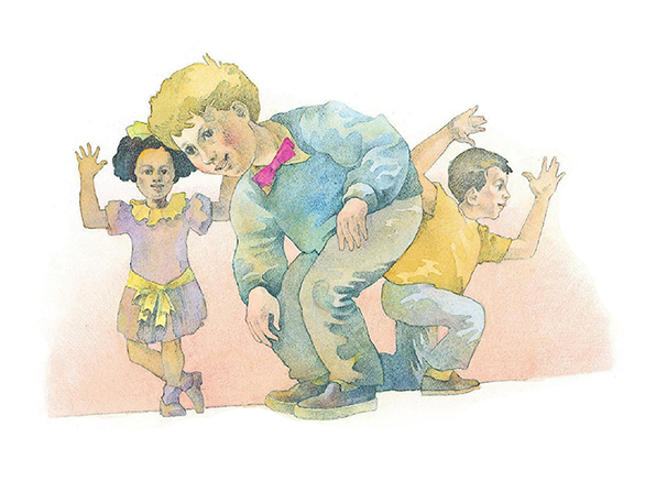 A watercolor illustration of two boys and a girl bending, kneeling, dancing, and raising their arms while singing a song.