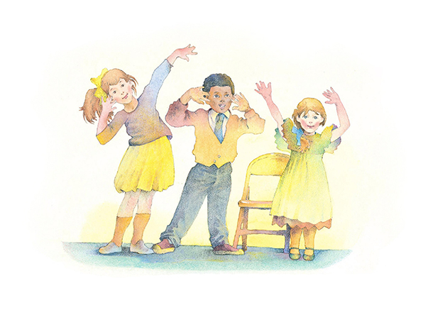 A watercolor illustration of two girls and a boy bending to the side and waving their hands in the air while singing a song.