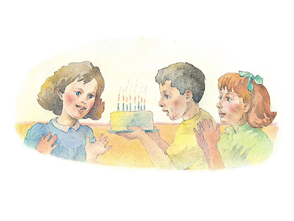 A watercolor illustration of a boy and girl carrying a birthday cake with lit candles toward another girl, who is smiling.