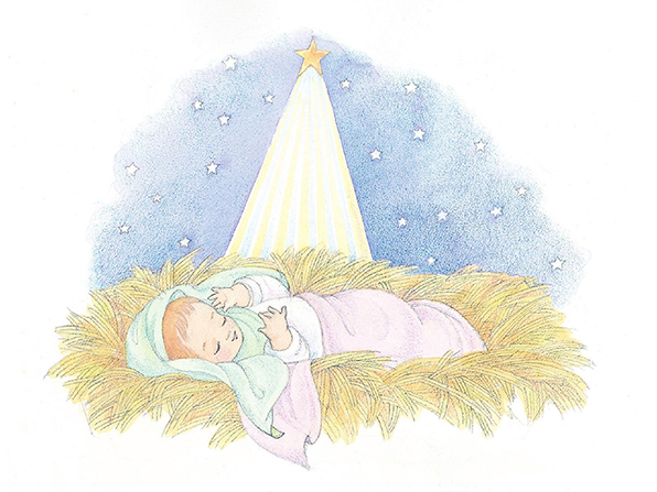 A watercolor illustration of baby Jesus laying in a manger with the Christmas star shining overhead.