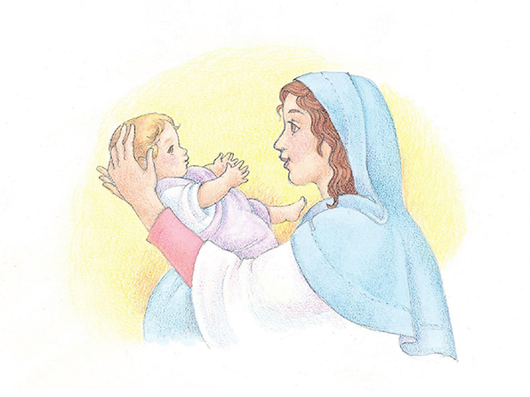 A watercolor illustration of Mary holding the baby Jesus up to her face.