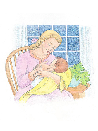 A watercolor illustration of a mother sitting in a chair in front of a window, holding her baby and touching the baby's face.