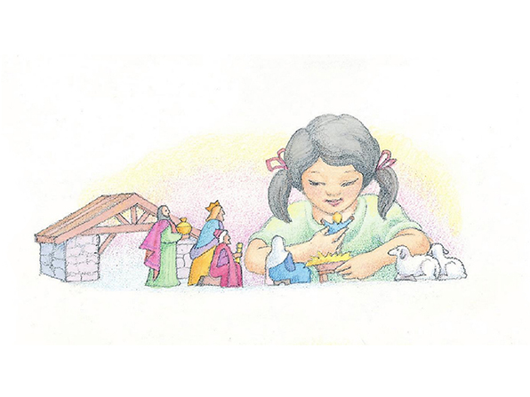 A watercolor illustration of a girl with black hair playing with the figurines from a Nativity set, holding the figurine of baby Jesus.