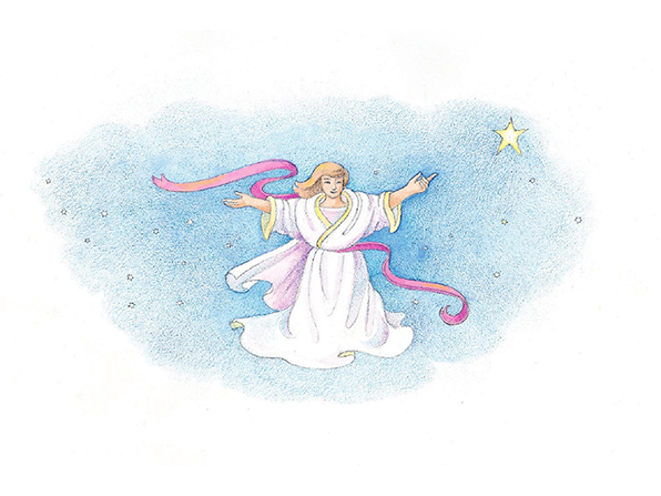 A watercolor illustration of an angel in a white robe standing among the stars in the sky.